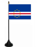 Cape Verde Desk / Table Flag with plastic stand and base.